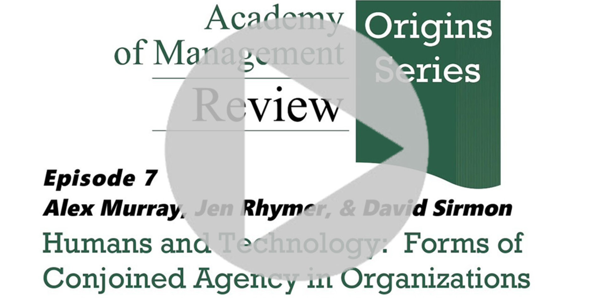 Academy of Management Review logo with play icon superimposed