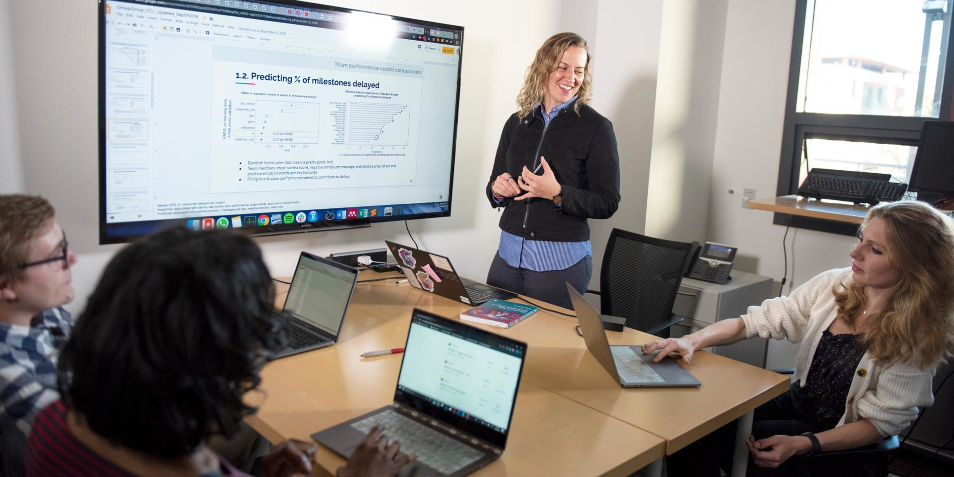 Professor Melissa Valentine with a group of students in a session for Work, Technology, and Organization